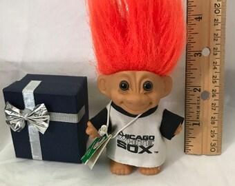 "Vintage Russ Troll Red Sox Baseball Troll Doll 3"" circa 1990 with tag"