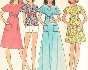 McCall's 4991 - Vintage 1970s Wrap-Front DRESS or TOP & SHORTS - Sewing Pattern - Size 12 - 34 Bust