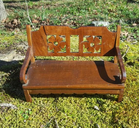 Dollhouse Bench Fairy Bench Wooden Folk Art Furniture