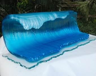 BIG BARREL Glass wave Sculpture  FREE Shipping