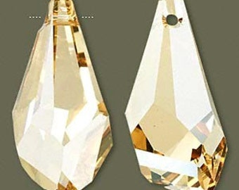 LARGE Swarovski 6015 Crystal Passions Polygon Focal Pendant Crystal Golden Shadow 50mm 1pc