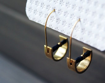 NEW Unity Earrings - geometric brass black modern minimal small half circle moon curved gold hoops everyday simple unique geometrical
