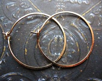 Gold Filled Hammered Hoops - 1 pair - 30mm - 20 gauge