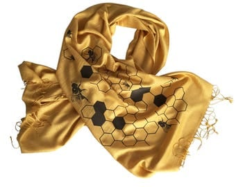 Honey Bee Printed Scarf. Bee Hive linen-weave gold pashmina. Oh Honey silkscreen print. Custom colors available too!