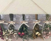 Rustic flower rack, dried flower hanging, country decorating, farmhouse decor, kitchen decor, preserved flower rack