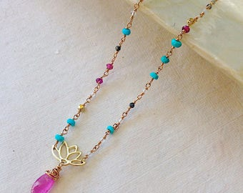 Pink Sapphire and Turquoise Asymmetrical Lotus Necklace