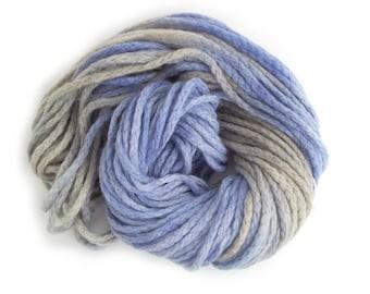 Chunky merino wool, purple grey bulky chainette yarn, Perran Yarns Purple Rhapsody crochet variegated skein hank, free knitting pattern