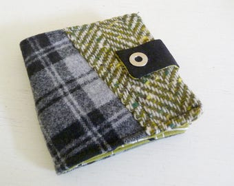Patchwork Wool Wallet Olive Green and Black Plaids with Snap Closure