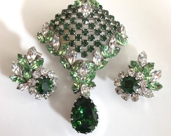 Schoffel vintage earrings pendant  / brooch set. Austrian crystal. Emerald