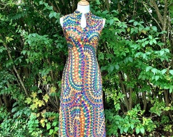 Vintage 70s Dress/ 70s Maxi Dress/ Paychedelic Dress/ Leslie Fay/ Bohemian Dress