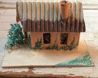 Vintage Mica Glitter Putz Cabin House,Cardboard House with Corrugated Roof,Vintage Cottage,Christmas Village,Christmas Decoration,Putz House