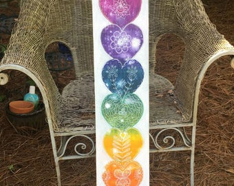 Original Modern Boho Wall Decor Rainbow Heart Chakra Balancing Healing Yoga ARt by Carol Iyer