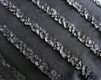 Black Ruffled Stretch Knit Fabric