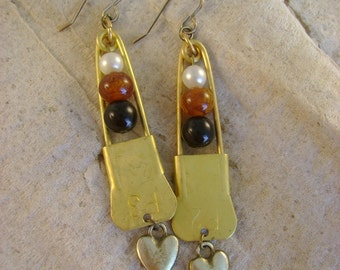 Safe Spaces - Vintage Brass Safety Pins Hearts White Brown Black Beads Recycled Repurposed Jewelry Kindness Peace Love Equality Earrings