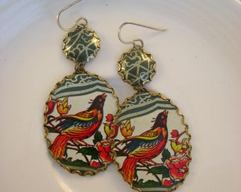 Morning Has Broken  - Vintage Hand Cut Colorful BirdsTins Bezels Upcycled Repurposed Jewelry Earrings - 10 Year Anniversary Gift