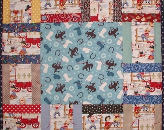 Cowboys Western Baby Quilt Horseshoe Boots Hat Red Bandana Blue Boys Checks Patriotic USA Flag Boot Covered Wagon