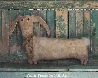 Primitive Rabbit, Primitive Doll, Rustic Rabbit Doll, Spring Primitive Decor, Bunny Rabbit, Farmhouse Decor, Grungy Rabbit - READY TO SHIP