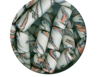 8 Handmade Ceramic Porcelain Nerikomi Style Beads, Made in America: 8 Marbled Black Peachy Orange & White Tube Beads Big Hole