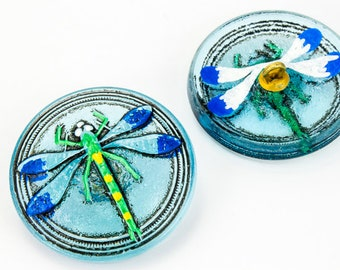 31mm Aqua Painted Dragonfly Button #BUT010