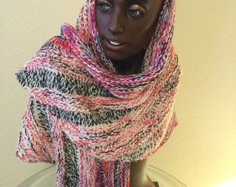 Hand Knitted Winter Shawl made with Handdyed Kona Superwash Merino