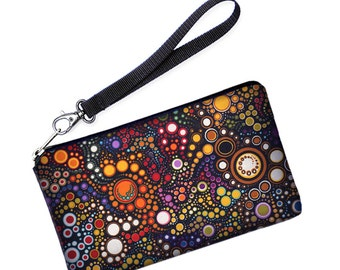 Galaxy S6 Edge Purse, Xperia Z3 Wallet, iPhone 6S Plus Case, Lumia 640 Smartphone Wristlet removable straps - colorful dots and circles SALE