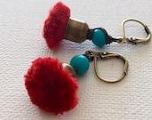Tassel Earrings, Silk Tassel Earrings, Red Tassel Earrings, Bohemian Tassel Earrings, Fun Tassel Earrings