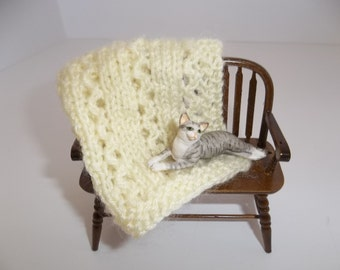 Yellow Miniature Knit Blanket, Light/Pale Yellow Miniature Doll House Blanket/Afghan - One Twelfth Scale