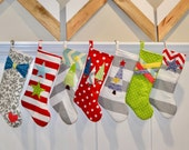 Colorful Christmas Stockings - RESERVED for Stephanie - Modern Christmas Stockings - Personalized Christmas Stocking