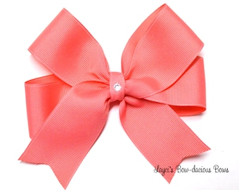 Coral Tails Down Hair Bow - available in 4 sizes - small, medium, large and extra large
