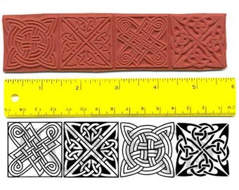 Celtic Square Knots Unmounted Rubber Stamp Set of 4