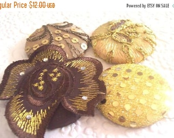 CLEARANCE - Gold buttons, fabric covered buttons , embroidered buttons, size 75 buttons
