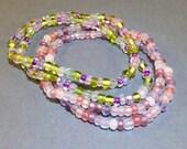Freundschaftsarmband pink - grün Stretch Armband - Perlen Schmuck - Armband - Wrap Armband - Seed Bead Schmuck - Weihnachtsgeschenk