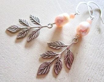 Champagne Pearl & Peach Moonstone Belle Fleur Earrings - Leaves - Silver - Sterling Silver - Etsy Jewelry - catROCKS - Grace and Frankie