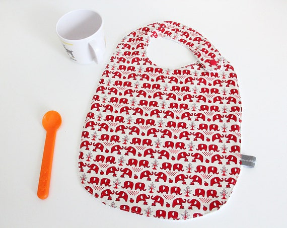 Baby bib - elephant - red - white - graphic - animals - trees- nature - bamboo - baby gift - baby shower - baby meal - baby - birthday