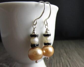 Simple Sweet Earrings - Freshwater Pearl, Swarovski Crystal in Sterling Silver