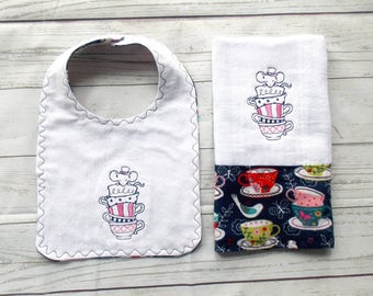 Teacup Mouse Baby Bib Set - Tea Party Baby Gift - Alice in Wonderland Baby Gift - Teacup Baby Bib Burp - Mad Hatters Tea Party Baby Gift -