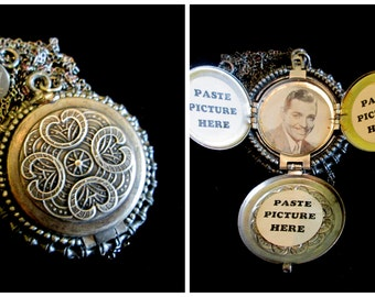 Antiqued Silver 4 Picture Locket Necklace