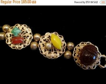 ON SALE Vintage Gold Filigree Charm Bracelet