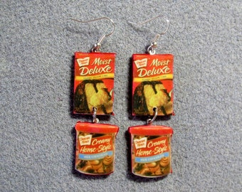 Chocolate Cake Mix and Frosting Kitsch Junk Food Polymer Clay Handmade Earrings