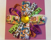 Orange Cat Print Handmade Hair Bow Barrette