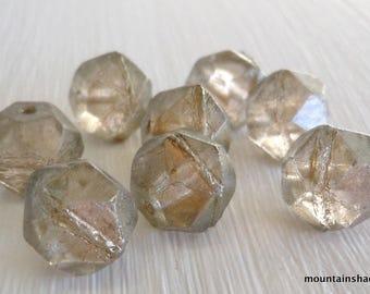 English Cut 10mm Czech Glass Pressed Beads Halo Linen - 8pcs