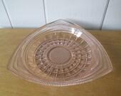 vintage triangular pink depression glass dish Hazel Atlas #259
