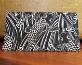 Checkbook Check Book Cover Cotton Cloth Black and White Koi Fish Design Top Tear