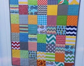 scrappy patchwork baby quilt
