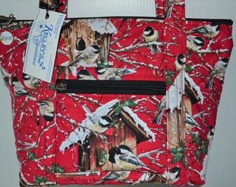 Quilted Fabric Handbag Purse with Beautiful Chickadee Birds and Birdhouses