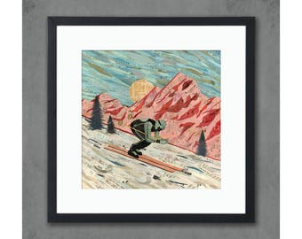 Last Run Ski/Skiing Art Print on Paper
