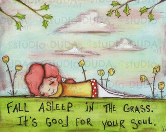 Print of my Original Mixed Media Painting - Asleep on the Grass - 8 x 10 print