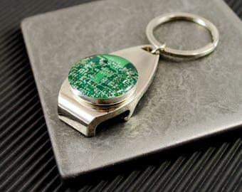 CHOOSE COLOR Circuit Board Bottle Opener Keychain, Computer Key Fob, Geek Beer Drinker Gift, Nerdy Housewarming Gift, Stocking Stuffer