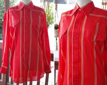 AMARILLO 1980's 90's Vintage Men's Bright Tomato Red Striped Cowboy Shirt with Pearl Snaps // by Panhandle Slim // size 33 // 15.5 Medium