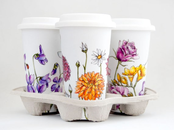 Custom Botanical Painting on White Ceramic Eco Friendly Travel Mug
